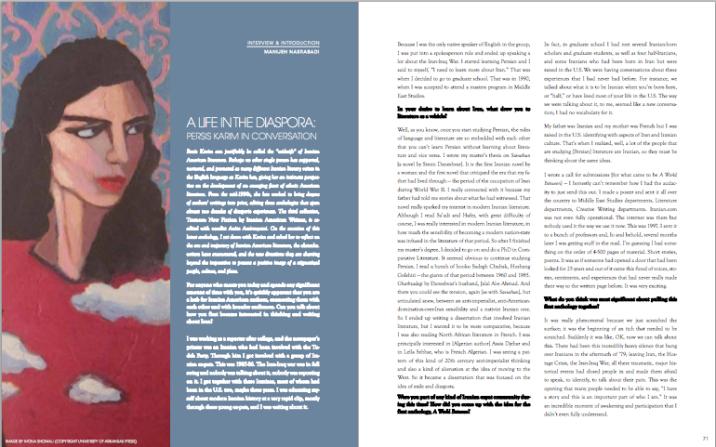 Interview with Persis Karim in Bita'arof Magazine, April 2014