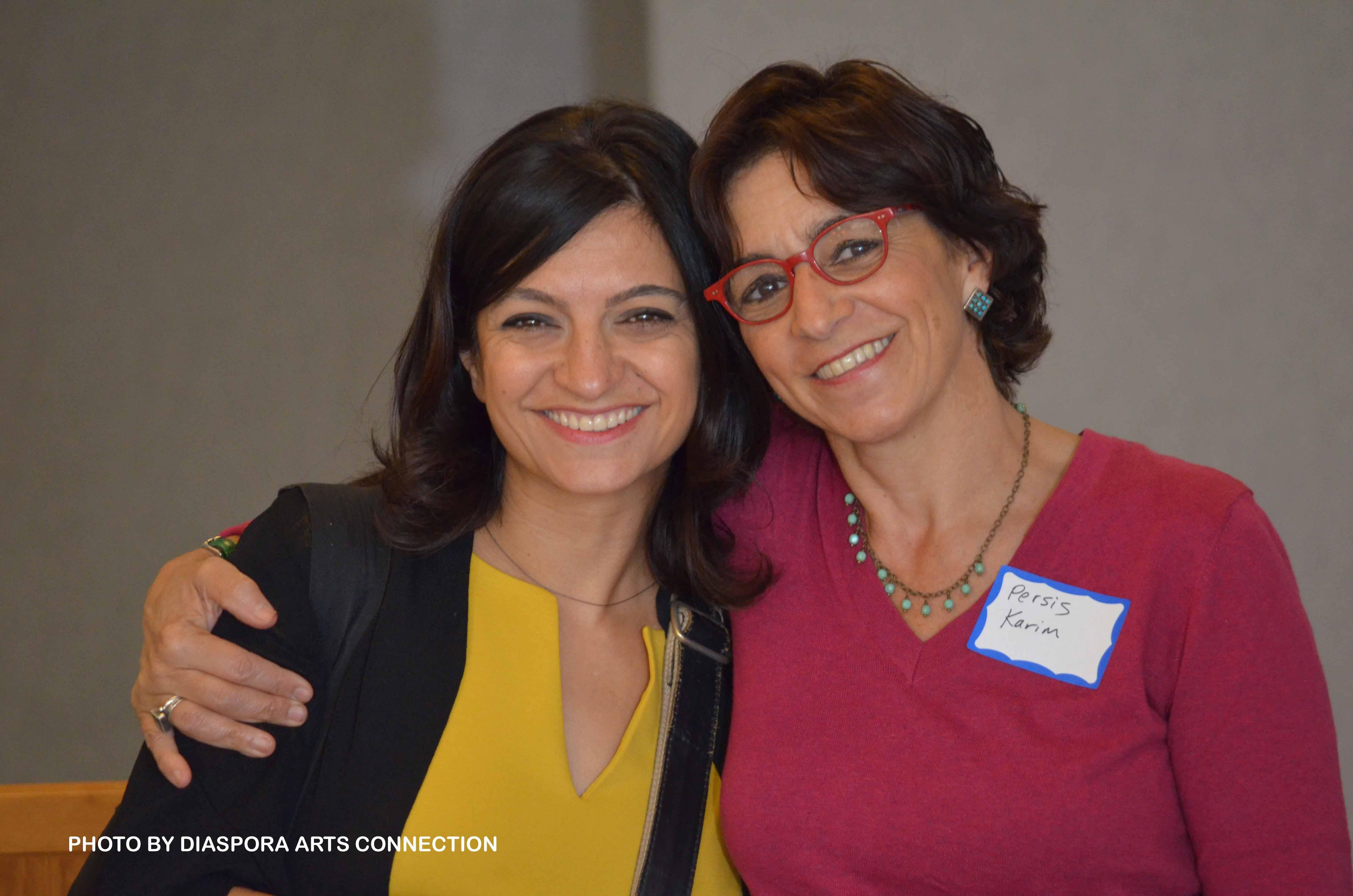 Firuzeh Mahmoudi with Persis Karim at Engaging Iran and the Iranian Diaspora Conference, October 21, 2016, San Jose State University