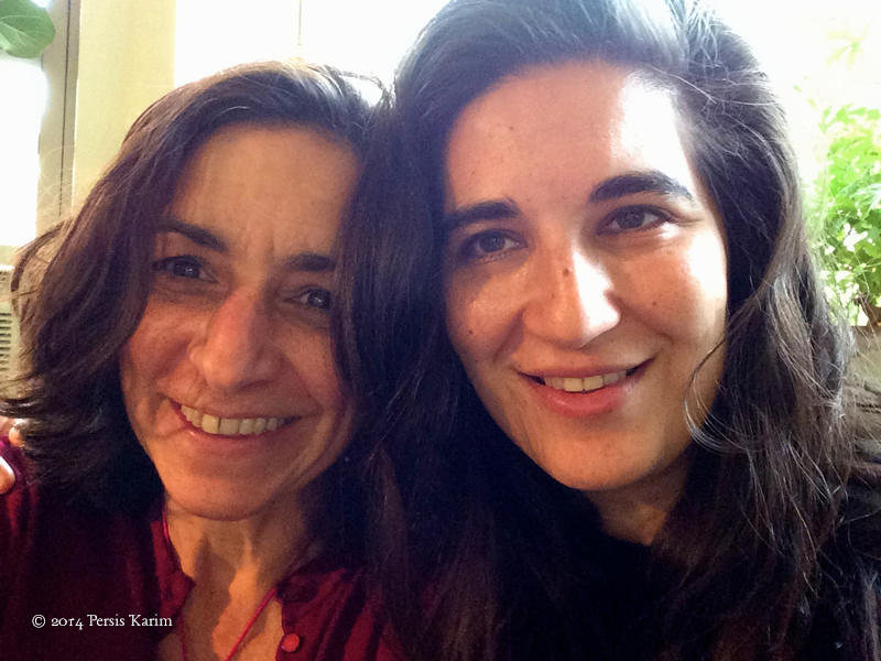 Persis Karim with artist Mona Shomali (artist who painted cover of Tremors: New Fiction  by Iranian-American Writers)
