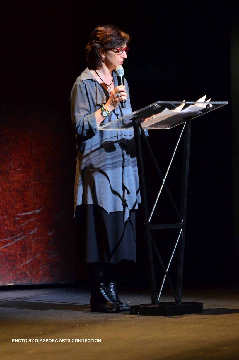 Persis Karim at Event Paying Tribute to the Life and Legacy of Abbas Kiarostami, February 16, 2017, Hammer Theatre, San Jose (photo credit: Diaspora Arts Connection)