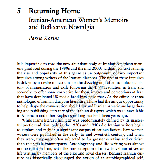 """Returning Home: Iranian-American Women's Memoirs and Reflective Nostalgia""  in  Identity, Diaspora and Return in American Literature. Edited by Maria Antònia Oliver-Rotger"