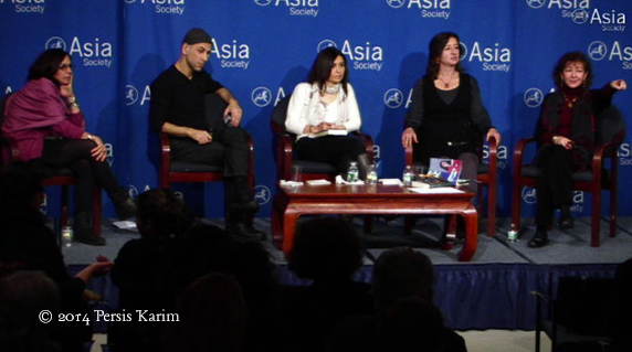 Persis Karim (l) reads and discusses Iranian-American fiction with Salar Abdoh, Dalia Sofer, Anita Amirrezvani, and Nahid Mozzaferi at the Asia Society in New York City, December 2013.