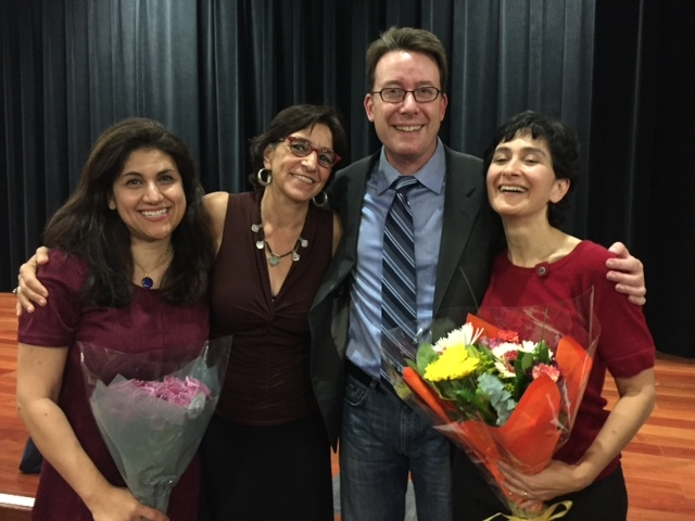 "Performance of ""Together Tea"" play at SJSU with Marjan Kamali, Matthew Spangler, Persis Karim, and Leyla Modirzadeh"