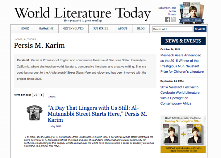 A Day that Lingers with Us Still : Al-Mutanabbi Street Starts Here Essay: World Literature Today, May 2012
