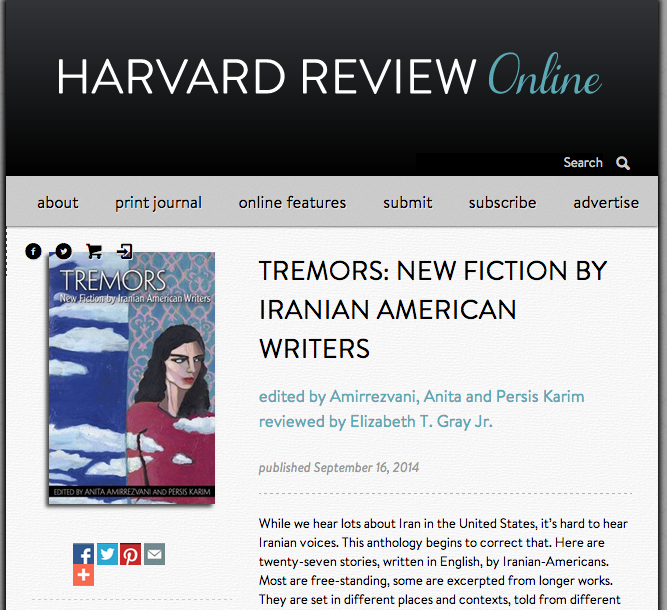Review of Tremors: New Fiction by Iranian American Writers in Harvard Review by Elizabeth T. Gray, September 2014