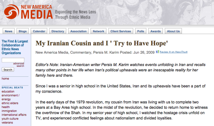 """My Iranian Cousin and I Try to Have Hope"" New America Media, 2009"