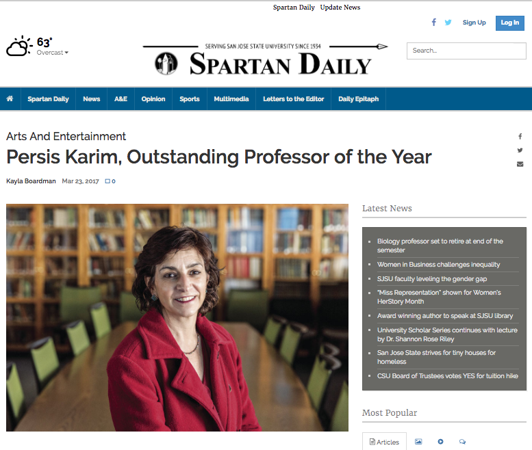 Persis Karim, Outstanding Professor of the Year